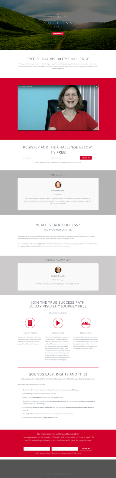 Ali Rand Web Design Your True Success Path Landing Page