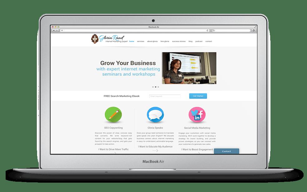 Gloria Rand Home Page Website Design for Ali Rand-min