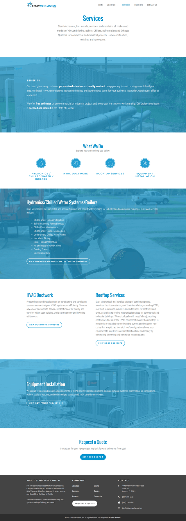 Ali Rand Web Design for Starr Mechanical Service Page Screenshot