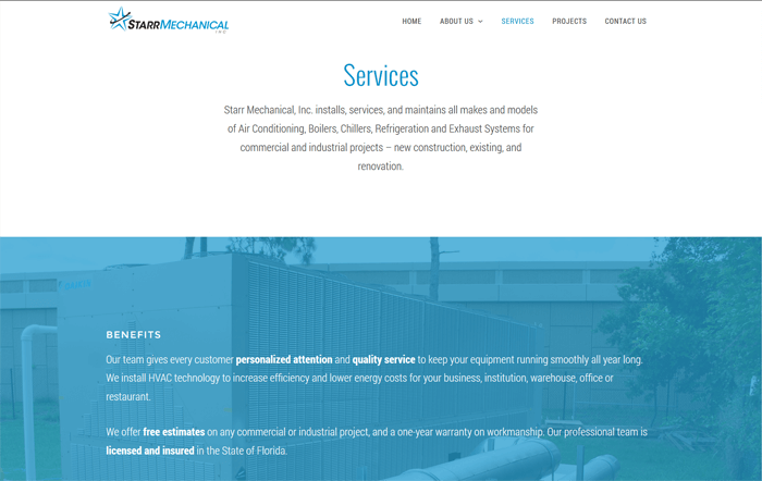 Ali Rand Web Design for Starr Mechanical Services Top