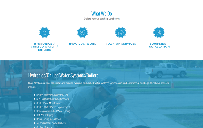 Ali Rand Web Design for Starr Mechanical What We Do