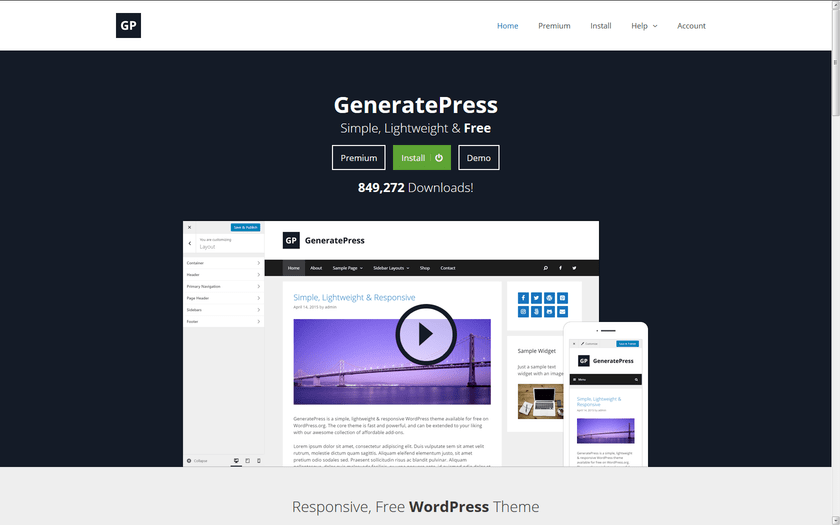 GeneratePress home page