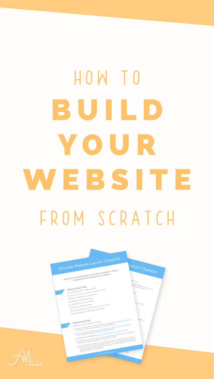 Learn how to build your website from scratch. From domain to hosting to everything you need to launch your site! Also get a free Checklist to make sure you're doing it all in the right order.