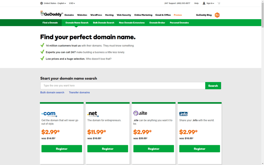 Starting to buy a domain name on GoDaddy