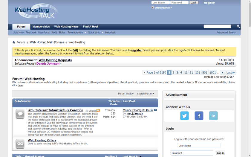 WebHostingTalk forum screenshot