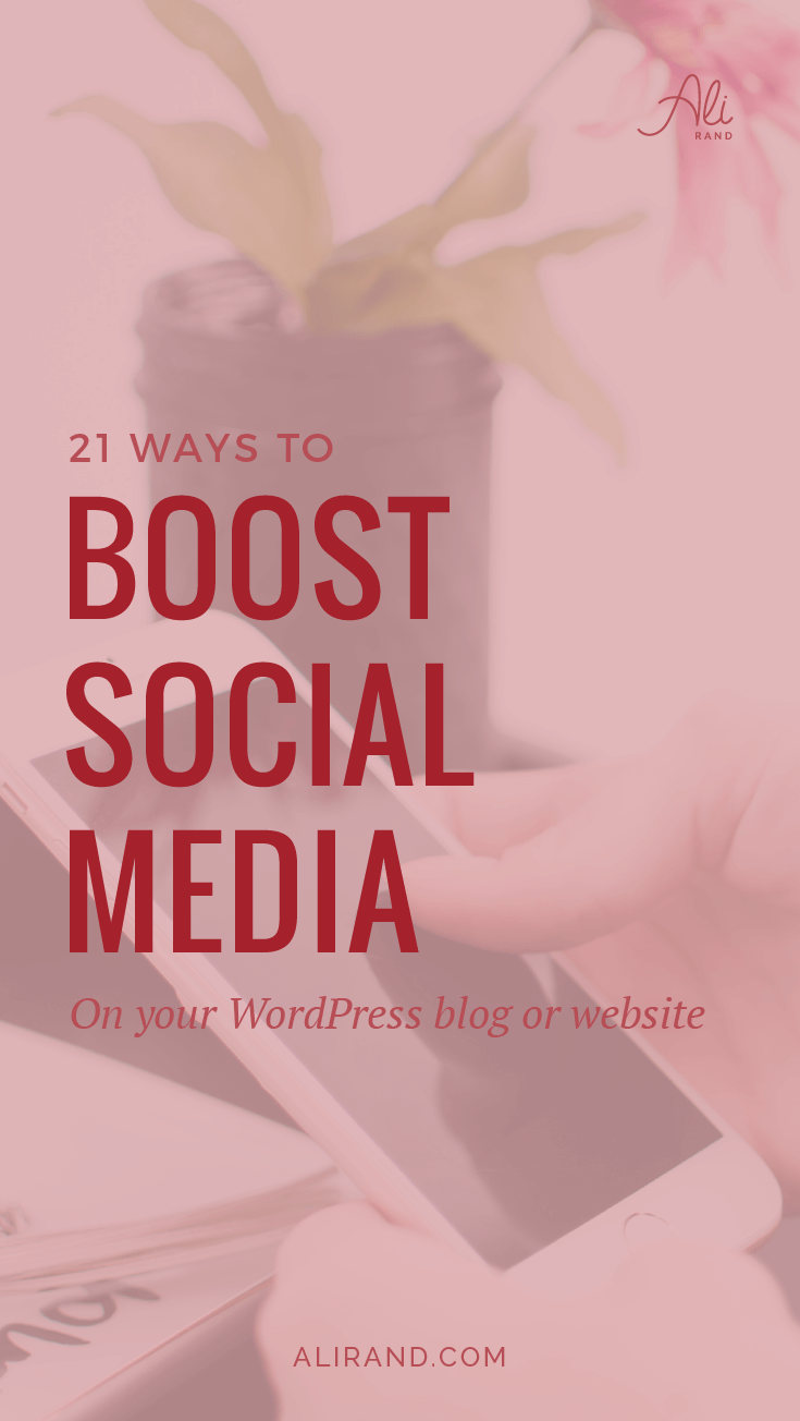 Want to boost your blog's social media integrations? Get more shares, follows, and subscribers? Here are 21 different ways to do it on your WordPress blog with a variety of plugins for most social networks. You definitely need to be using #13 to increase your Pinterest shares! See them all at https://alirand.com/social-media-blog-plugins/