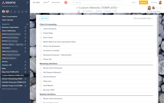 Asana Custom Website Workflow Template for Ali Rand