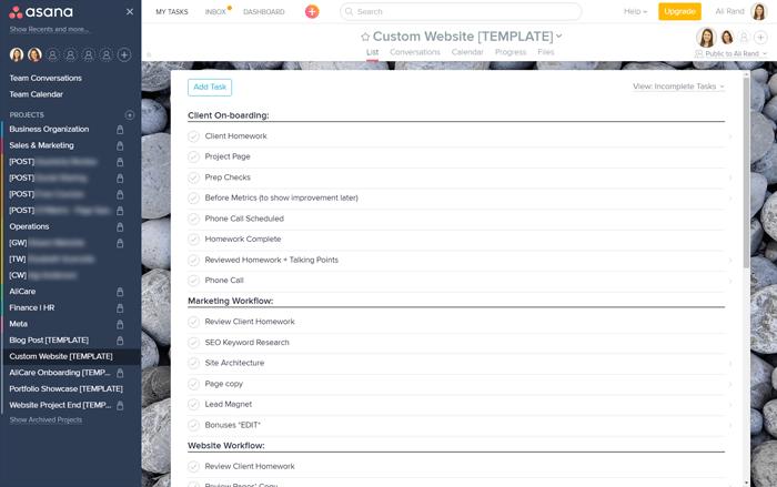 Asana Custom Website Workflow Template for Ali Rand