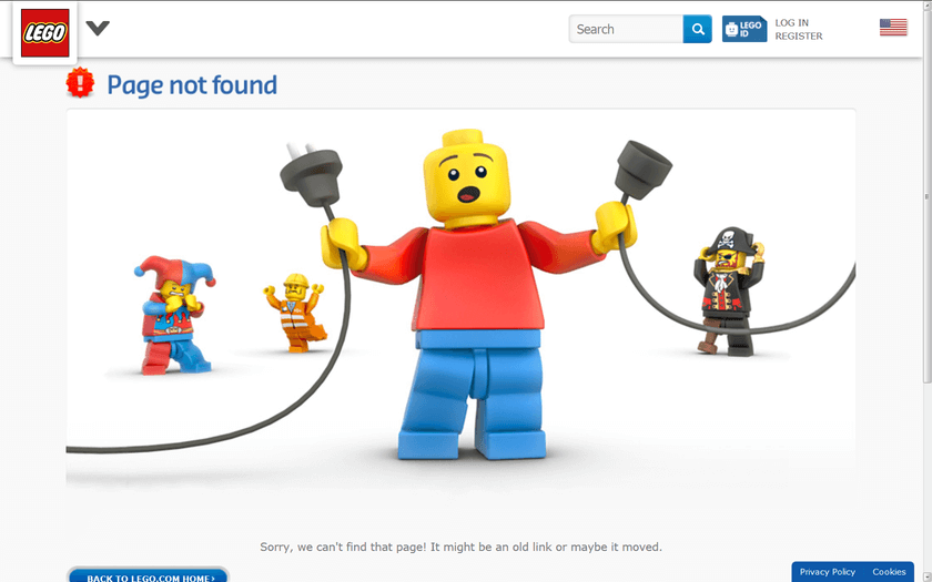 404 error page from LEGO