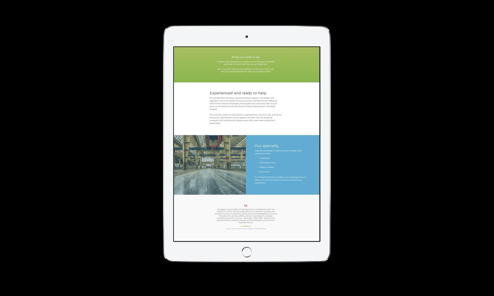 Ali Rand Website for Cascadia iPad mockup