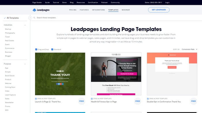 LeadPages template list sortable by conversion rate