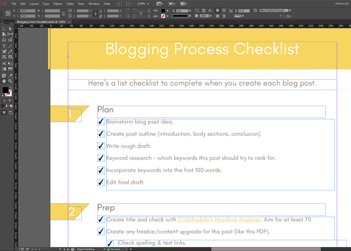 Adobe InDesign checklist in the making