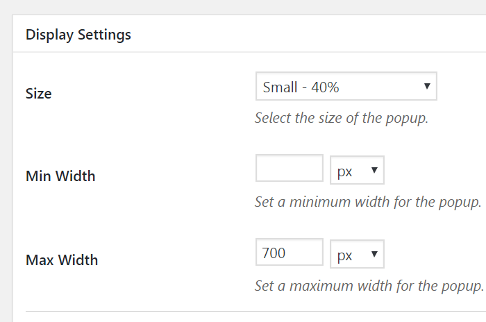 Display Settings for Popup maker
