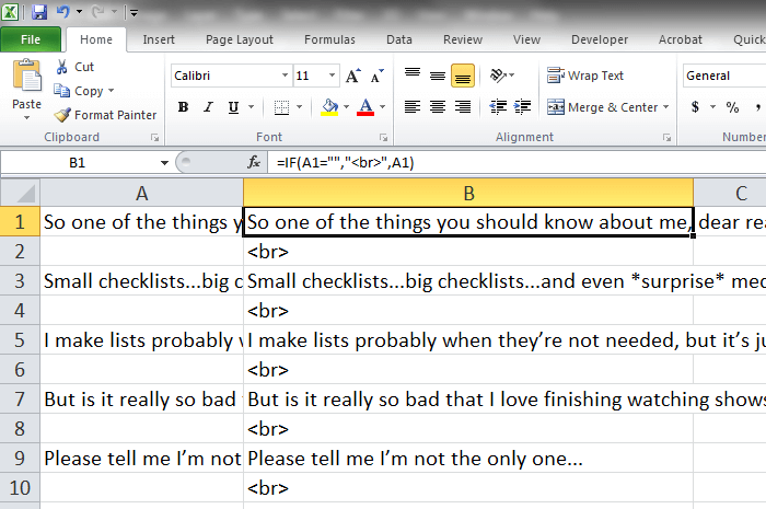 Excel sheet with formatting for the text tab in WordPress