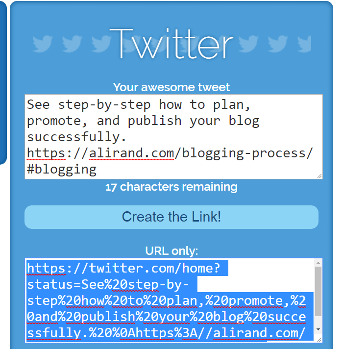 SharelinkGenerator Tweet for my blog post email to list