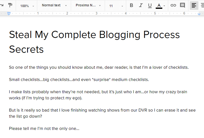 Steal My Complete Blogging Process Secrets post in Google Docs