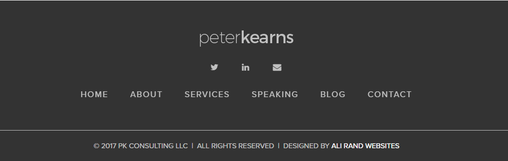 peter kearns footer design by Ali Rand