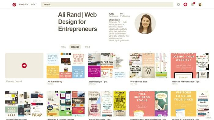 Pinterest Profile for Ali Rand Web