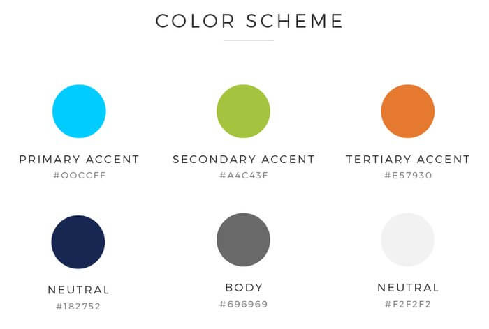 180Commerce color scheme for web design by Ali Rand Websites