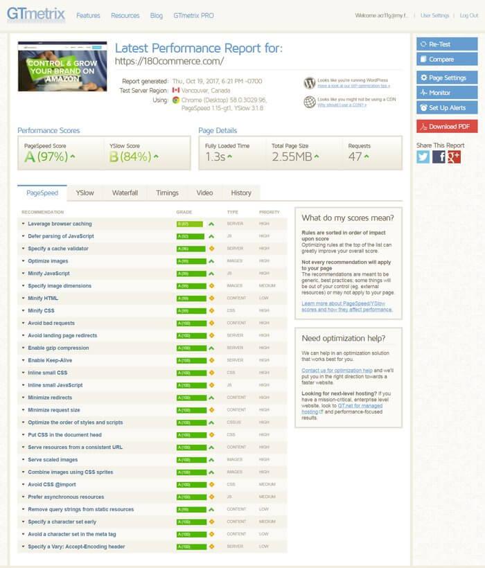 GTMetrix score for 180commerce website design by Ali Rand Websites
