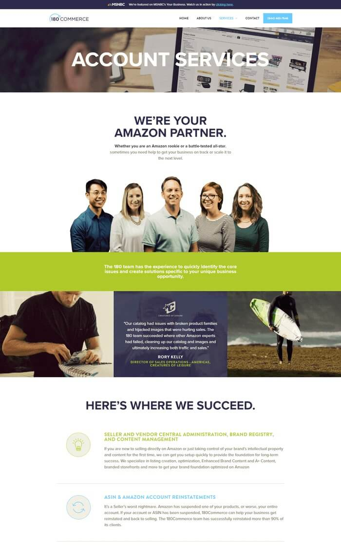 account services website design for 180commerce by Ali Rand