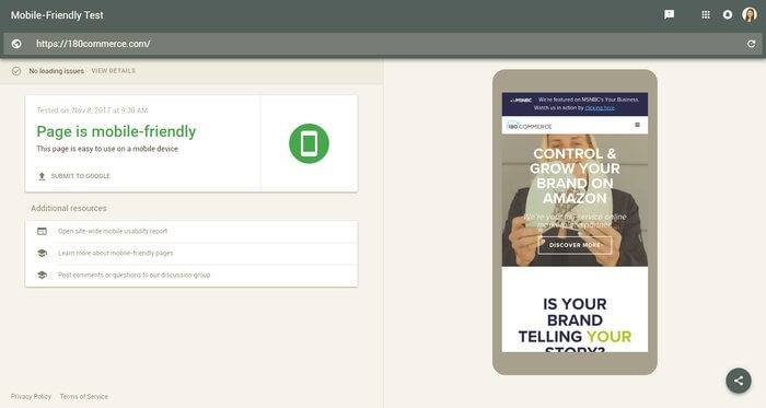 google mobile friendly passing test for 180commerce design by Ali Rand Websites