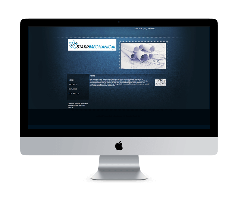 Starr Mechanical home page before redesign by Ali Rand Websites