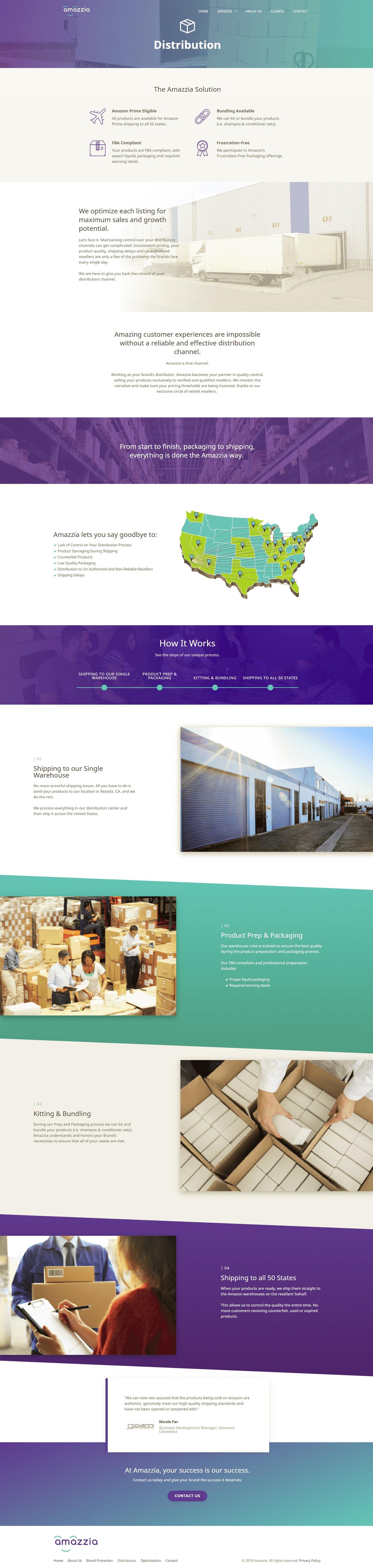Amazzia Distribution web page design by ali rand