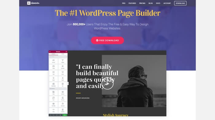 elementor page builder plugin for wordpress websites