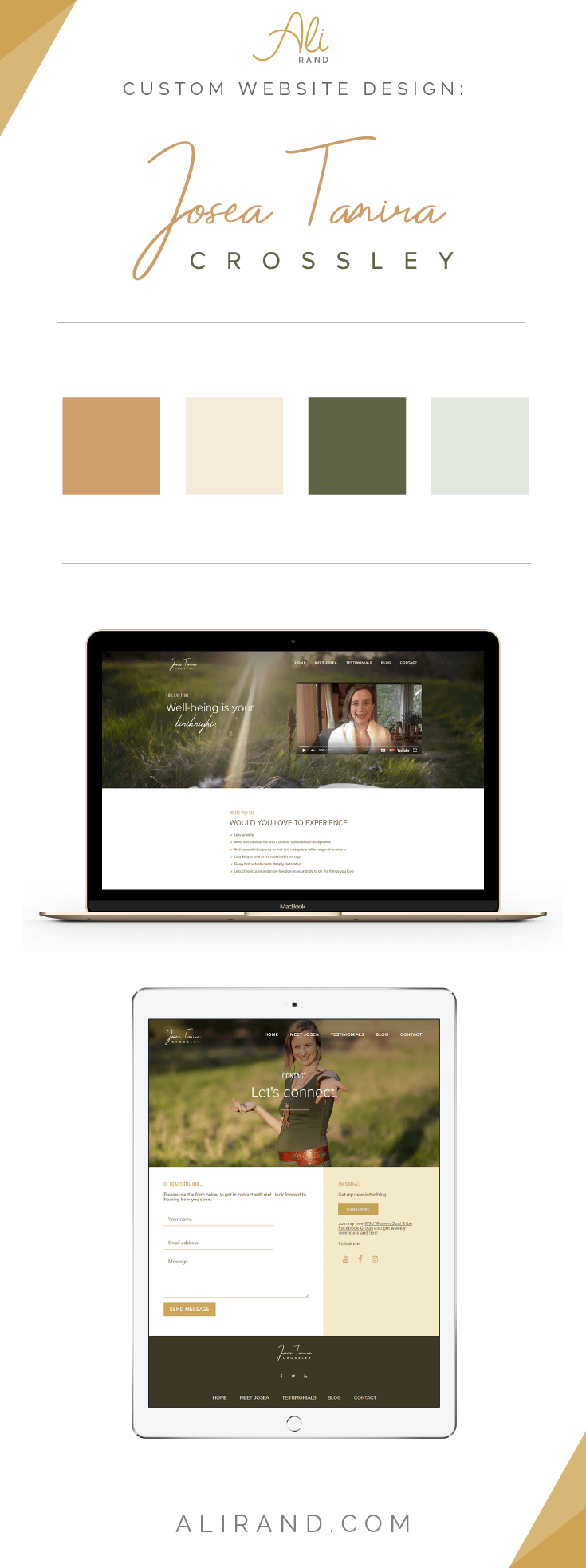 See the portfolio images for Josea Tamira Crossley's custom website design on WordPress by Ali Rand