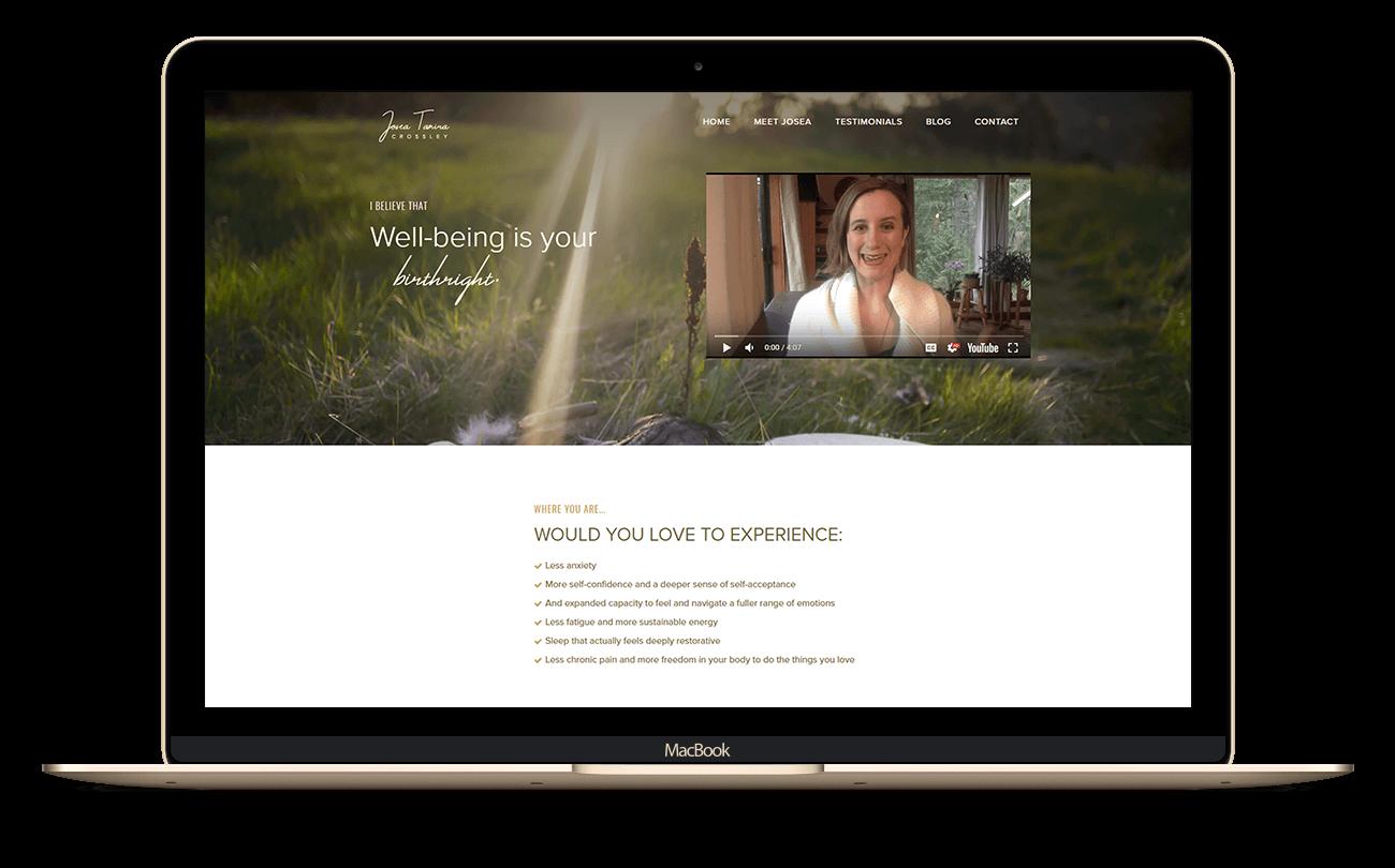 Josea Tamira Crossley home page design by Ali Rand