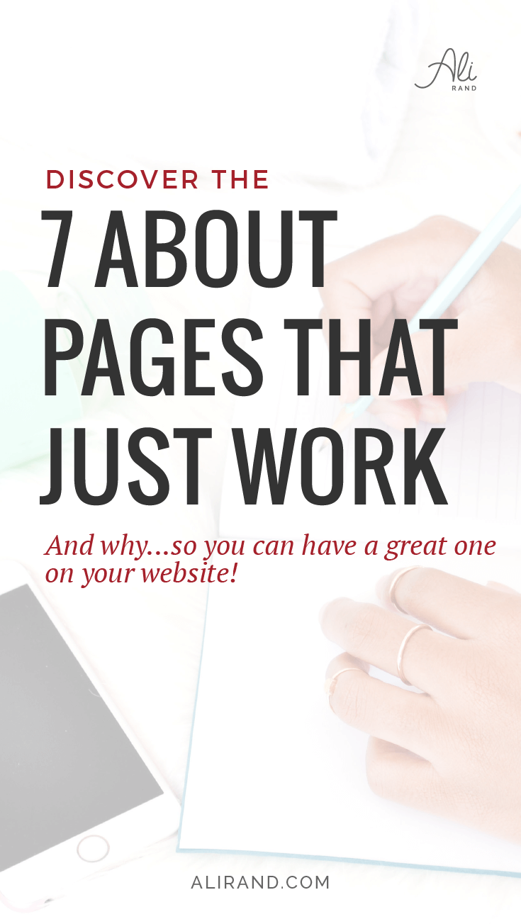 Are you stuck trying to write your website's about page? Banging your head on the wall for inspiration? Well check out these 7 amazing about pages and use them for inspiration for your own site! You don't want to miss #4! https;//alirand.com/about-pages-that-work/ #webdesign #smallbiz #entrepreneur #websites