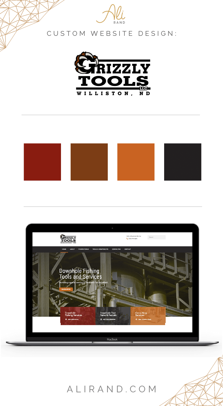 Grizzly Tools website design by ali rand
