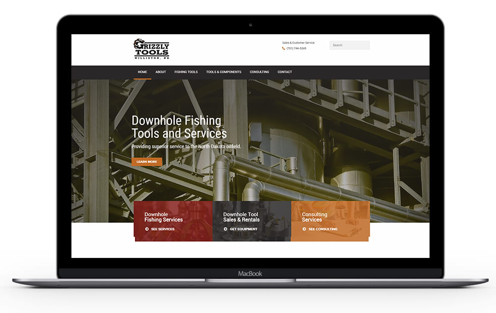 grizzly tools custom website design by Ali Rand