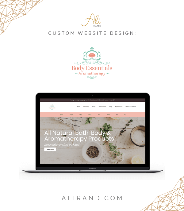 Love how this WordPress website redesign project went for ecommerce bath and body product company! >> https://alirand.com/portfolio/body-essentials-aromatherapy/ #webdesign #ecommerce #website