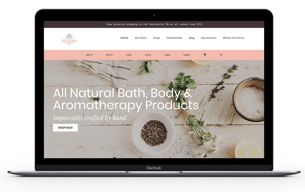 body essentials custom website design by Ali Rand