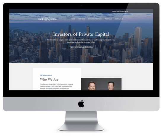 one eighty capital home page design